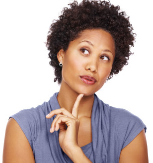 Woman Thinking / look professional with natural hair. Sahm