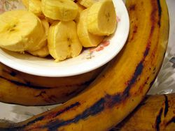 Boiled Plantain wilth peppered snail sauce