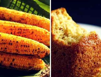 Grilled sweet corn and corn cupcake