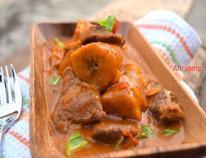 Ethopian plantain and beef stew