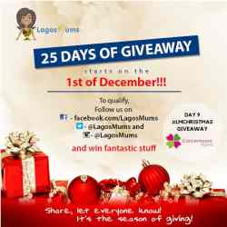 Day 9 of The LagosMums 2018 25 Day Christmas Giveaway