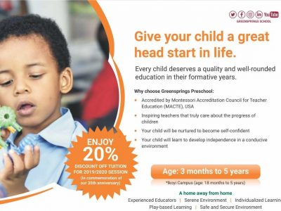 Massive Discount On School Fees As Greensprings School Marks Its 35th Anniversary!